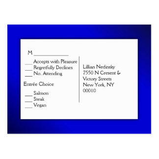 Evening Blue RSVP with Entree Choices Postcard