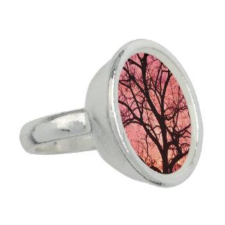 Evening Blush Tree Silhouette Ring