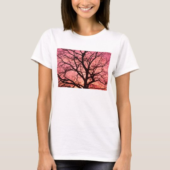 Evening Blush Tree Silhouette T-Shirt
