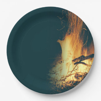 Evening Bonfire Party Blank Paper Plates