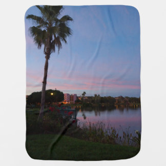 Evening By The Palm Tree Baby Blanket