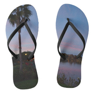 Evening By The Palm Tree Flip Flops