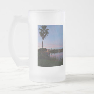 Evening By The Palm Tree Frosted Glass Beer Mug