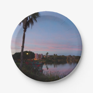 Evening By The Palm Tree Paper Plate