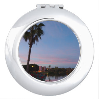 Evening By The Palm Tree Travel Mirror