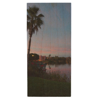 Evening By The Palm Tree Wood USB Flash Drive