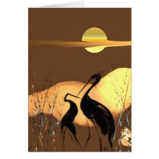 Evening Cranes Greeting Card