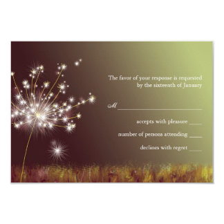 "Evening Dandelion Floral Wedding RSVP 3.5"" X 5"" Invitation Card"