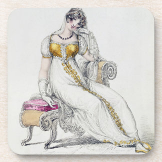 Evening dress or wedding dress, fashion plate from drink coaster