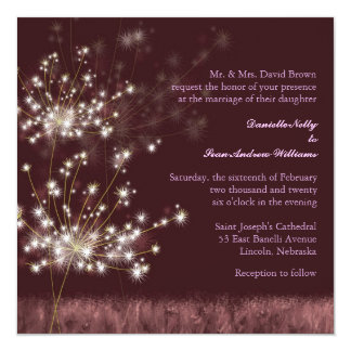 "Evening Garden Dandelions Floral Wedding 5.25"" Square Invitation Card"