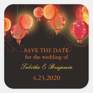 Evening Garden Lanterns Wedding Invitation Square Sticker