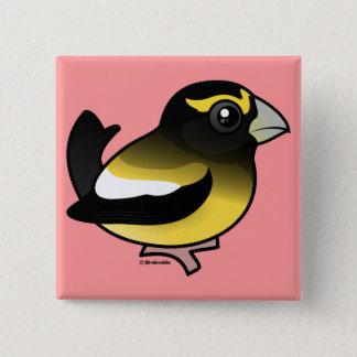 Evening Grosbeak 2 Inch Square Button
