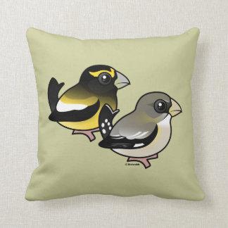 Evening Grosbeak pair Throw Pillow
