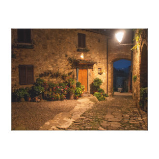 Evening in the ancient hillside town stretched canvas prints
