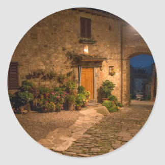 Evening in the ancient hillside town classic round sticker