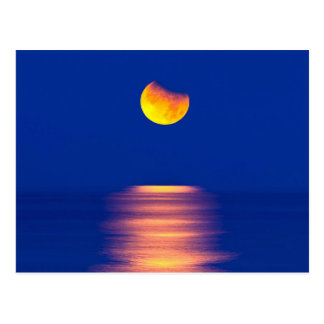 Evening Moon Over The Sea Postcard