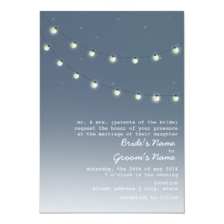 Evening Outdoor Wedding - String Of Lights Card