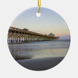 Evening Peace On Folly Beach Ceramic Ornament