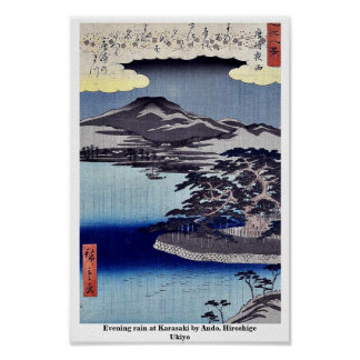 Evening rain at Karasaki by Ando, Hiroshige Ukiyo Poster