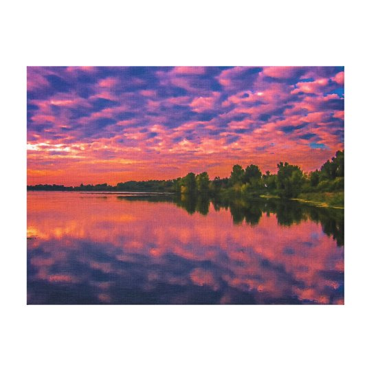 Evening river canvas print