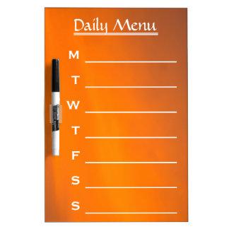 Evening Sky Orange Color Daily Menu Weekly Menu Dry Erase Board