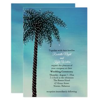 Evening String Lights Palm Tree Wedding Invitation