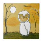 Evening Stroll, Whimsical Woodland White Owl Art Ceramic Tiles