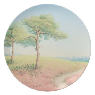 Evening Sun, New Forest Pine Trees in Pastel Plate