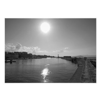 Evening sun reflecting in the sea photo print