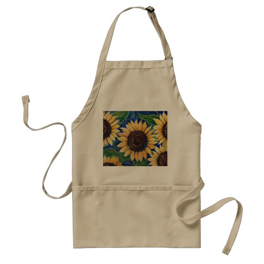 Evening sunflowers apron by Renee Lavoie