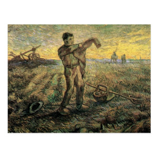 Evening: The End of the Day  by van Gogh Postcard