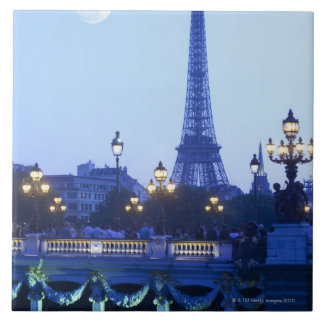 Evening view of Eiffel Tower at moonrise Tiles