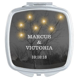 Evening Wedding Tree Lights Travel Mirror
