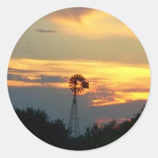 Evening Windmill Round Sticker