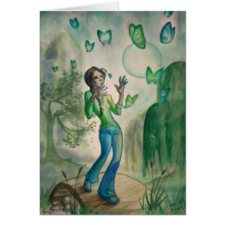 Evening With Butterflies Greeting Card