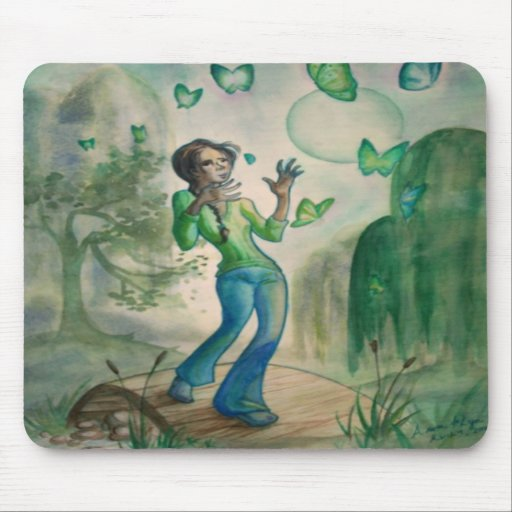 Evening With Butterflies Mouse Pads
