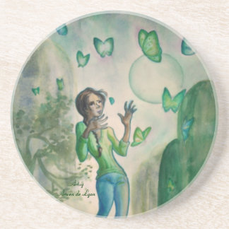 Evening With the Butterflies Drink Coaster