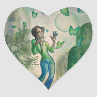Evening With the Butterflies Heart Sticker