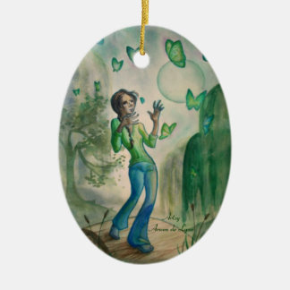 Evening With the Butterflies Double-Sided Oval Ceramic Christmas Ornament