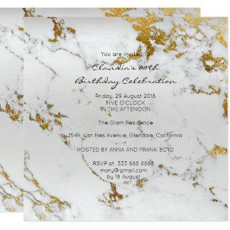 Event Birthday Black Gold Gray Marble Minimal Card