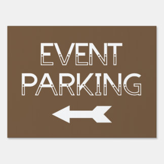 Event Parking Directional Arrow - Brown Yard Sign