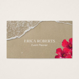 Event Planner Elegant Beach Hibiscus Red Floral Business Card