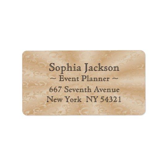Event Planner Faux Gold Subtle Vines Label
