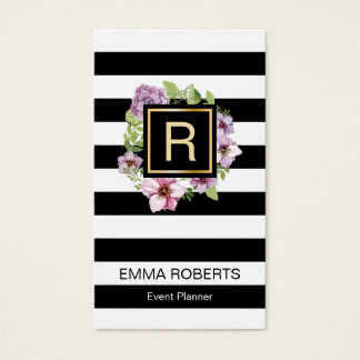 Event Planner Floral Monogram Modern Stripes Business Card