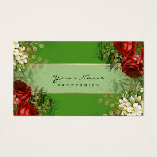 Event Planner Floral Red Roses Green Gold VIP Business Card