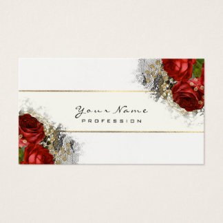 Event Planner Floral  Red Roses Green White Business Card