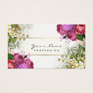 Event Planner Floral Red Roses Pink Green Gold Business Card