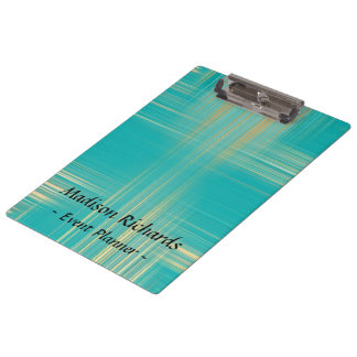 Event Planner Modern Turquoise Pattern Clipboard