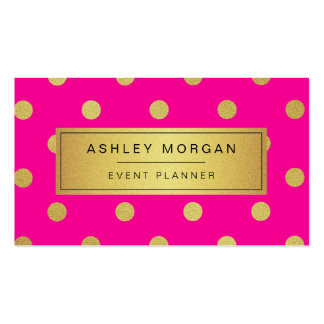 Event Planner - Pink Gold Glitter Confetti Dots Pack Of Standard Business Cards