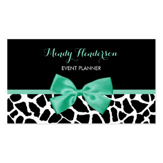 Event Planner Pretty Giraffe Print Mint Green Bow Business Cards